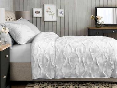 AICO Furniture Janelle White Three-Piece Queen Duvet Set AICBCSQD03JANELWHT