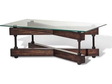Aico Furniture Michael Amini Killington Tempered Glass / Mahogany 48''W x 28''D Rectangular Coffee Table AICFSKLGTN201