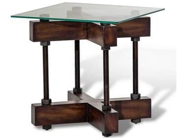 Aico Furniture Michael Amini Killington Tempered Glass / Mahogany 23'' Wide Square End Table AICFSKLGTN202