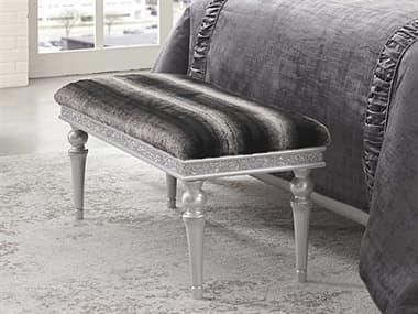 Aico Furniture Michael Amini Melrose Plaza Dove Non-Storage Bed Bench AIC9019904118