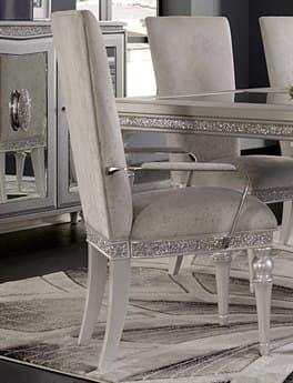 Aico Furniture Michael Amini Melrose Plaza Dove Dining Arm Chair AIC9019004118