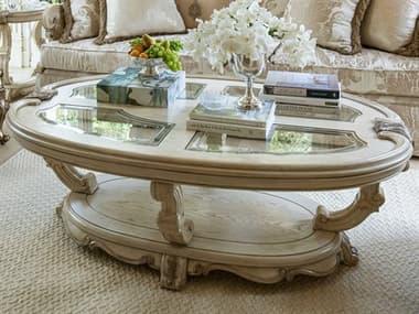 Aico Furniture Michael Amini Platine De Royale Glass / Champagne / Antique Platinum 60''W x 38''D Oval Cocktail Table AICN09201201