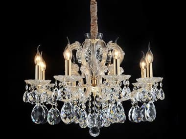 AICO Furniture Portola Clear 8-light 25'' Wide Crystal Glass Medium Chandelier AICLTCH9938CLR