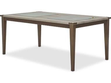 Aico Furniture Michael Amini Valise Amazon Tan Gator Vinyl 72-96''W x 43''D Rectangular Dining Table with Extension AIC9026600110