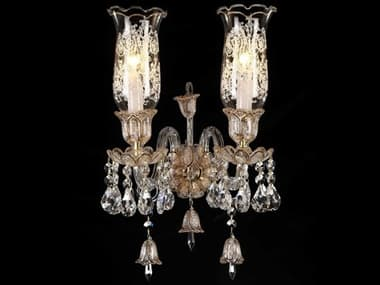 AICO Furniture Vincennes Gold / Clear 2-light Crystal Glass Wall Sconce AICLTWL0062CLR