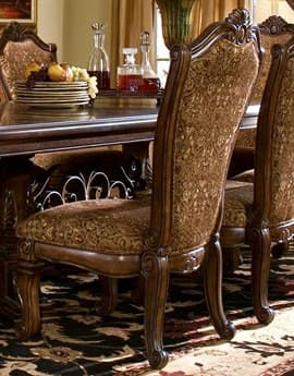 Aico Furniture Michael Amini Windsor Court Bronze & Gold / Vintage Fruitwood Dining Side Chair AIC7000354
