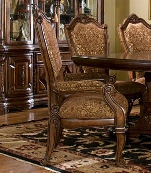 Aico Furniture Michael Amini Windsor Court Bronze & Gold / Vintage Fruitwood Dining Arm Chair AIC7000454