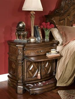 Aico Furniture Michael Amini Windsor Court Vintage Fruitwood One-Drawer Nightstand AIC7004054