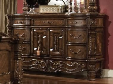 Aico Furniture Michael Amini Windsor Court Vintage Fruitwood Seven-Drawer Triple Dresser AIC7005054