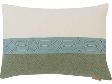 Aidan Gray Diamond No-20 White / Green 20'' x 14'' Rectangular Pillow AIDPL14DIANO20
