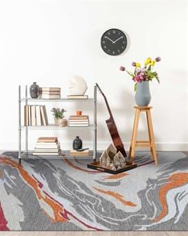 Amer Rugs Carrara Orange / Gray Red Rectangular Area Rug ARCRR10REC