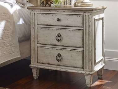 American Drew Southbury White Parchment with Warm Fossil on Top 28''L x 17''W Rectangular Nightstand AD513420