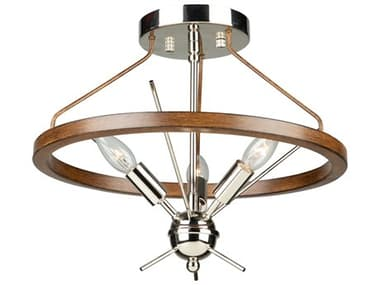 Artcraft Lighting Abbey Faux Wood / Polished Nickel Three-Light 16'' Wide LED Semi-Flush Mount ACAC11553PN