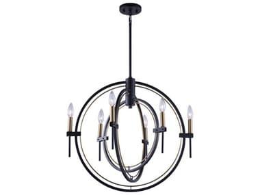 Artcraft Lighting Anglesey Matte Black / Harvest Brass 25'' Wide Medium Chandelier ACAC11456