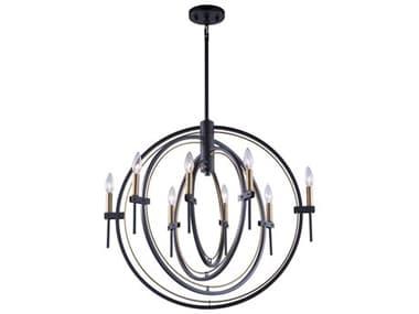 Artcraft Lighting Anglesey Matte Black / Harvest Brass 28'' Wide Medium Chandelier ACAC11458