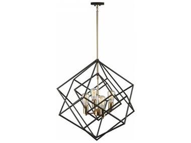 Artcraft Lighting Artistry Matte Black & Satin Brass Four-Light 24'' Wide Chandelier ACAC11114