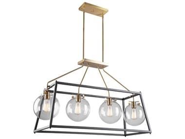Artcraft Lighting Bridgetown Black / Harvest Brass Four-Light 40'' Wide LED Island Light ACAC11604VB