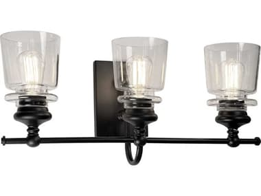 Artcraft Lighting Castara Black / Brass Three-Light Glass LED Vanity Light ACAC11593BK