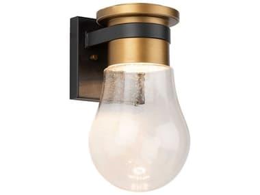 Artcraft Lighting Clareville Black / Harvest Brass One-Light Glass LED Outdoor Wall Light ACAC9100VB