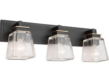 Artcraft Lighting Eastwood Black / Brass Three-Light Glass LED Vanity Light ACAC11613VB