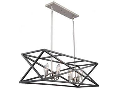 Artcraft Lighting Elements Black / Polished Nickel Eight-Light 38'' Wide Island Light ACAC11045