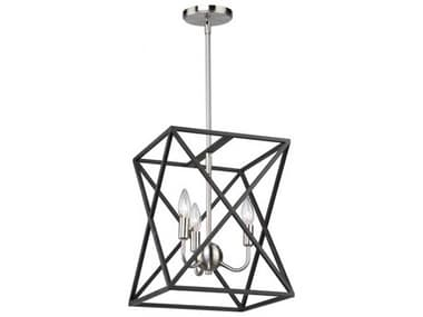 Artcraft Lighting Elements Black / Polished Nickel Four-Light 12'' Wide Mini Chandelier ACAC11041
