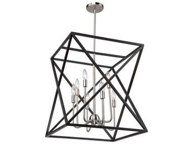 Artcraft Lighting Elements Black / Polished Nickel Eight-Light 20'' Wide Mini Chandelier ACAC11042