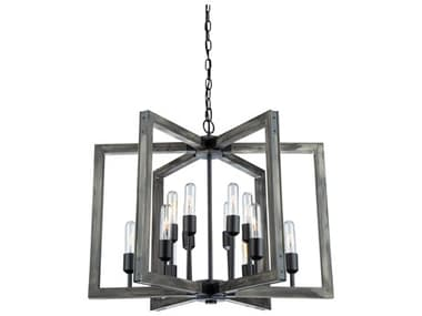 Artcraft Lighting Gatehouse Beach Wood / Black 12-Light 27'' Wide LED Medium Chandelier ACAC11652BK