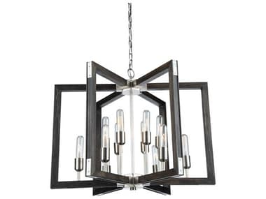 Artcraft Lighting Gatehouse Dark Pine / Brushed Nickel 12-Light 27'' Wide LED Medium Chandelier ACAC11652BN