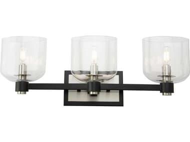 Artcraft Lighting Lyndon Black And Brushed Nickel 3-light Glass Vanity Light ACAC11693NB