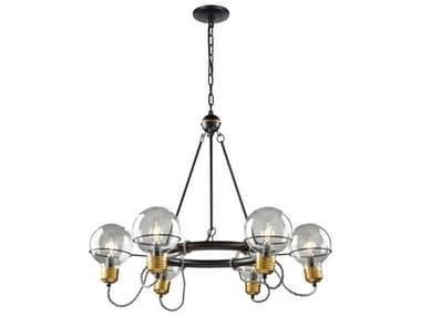 Artcraft Lighting Martina Black And Brushed Brass 6-light 28'' Wide Glass Medium Chandelier ACAC11727BK