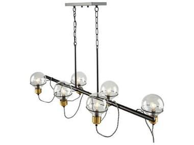 Artcraft Lighting Martina Black And Brushed Brass 6-light 47'' Wide Glass Island Light ACAC11726BK