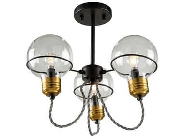 Artcraft Lighting Martina Black And Brushed Brass 3-light 15'' Wide Glass Semi-Flush Mount ACAC11723BK