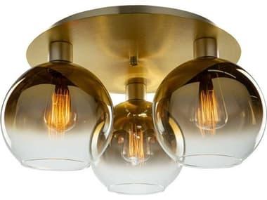 Artcraft Lighting Morning Mist Gold 3-light 19'' Wide Glass Semi-Flush Mount ACSC13282GD