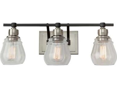Artcraft Lighting Nelson Black And Brushed Nickel 3-light Glass Vanity Light ACAC11683NB