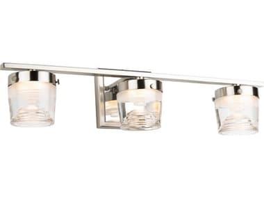 Artcraft Lighting Newbury Brushed / Polished Nickel Three-Light Glass LED Vanity Light ACAC7663CB