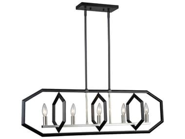 Artcraft Lighting Preston Semi Matte Black / Brushed Nickel Five-Light 38'' Wide LED Island Light ACAC10995NB