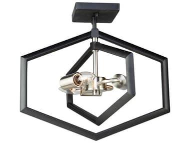 Artcraft Lighting Preston Semi Matte Black / Brushed Nickel Three-Light 16'' Wide LED Semi-Flush Mount ACAC10993NB