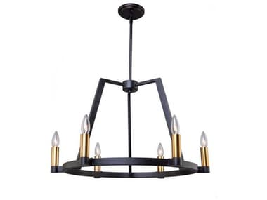 Artcraft Lighting Regent Black / Satin Brass Six-Light 26'' Wide Chandelier ACAC11126