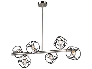 Artcraft Lighting Sorrento Matte Black / Satin Nickel Six-Light 34'' Wide LED Island Light ACAC11567NB