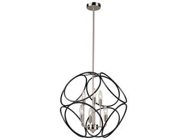 Artcraft Lighting Sorrento Matte Black / Satin Nickel Six-Light 21'' Wide LED Mini Chandelier ACAC11566NB