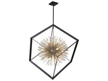 Artcraft Lighting Sunburst Matte Black / Satin Brass 37'' Wide Pendant ACAC11441