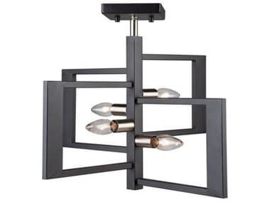 Artcraft Lighting Sutherland Black / Brushed Nickel Four-Light 18'' Wide LED Semi-Flush Mount ACAC11173NB