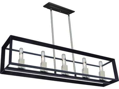 Artcraft Lighting Vineyard Black & Chrome Five-Light 39'' Wide Island Light ACAC10065BC