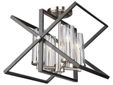 Artcraft Lighting Vissini Matte Black / Polished Nickel 14'' Wide Semi-Flush Mount ACAC11471