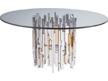 Artistica Home Cityscape Stainless Steel with Vintage Brass 60'' Wide Round Dining Table ATS204187060C