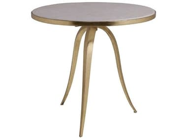 Artistica Home Crystal Stone White Crystal Fossil Stone with Gold Foil 26'' Wide Round Table Shape ATS2023950