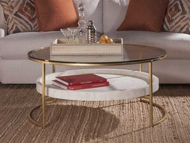 Artistica Home Cumulus Gold Leaf with White Crystal Stone 41'' Wide Round Cocktail Table ATS2024943C