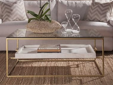 Artistica Home Cumulus Gold Leaf with White Crystal Stone 44''L x 30''W Rectangular Cocktail Table ATS2024945C