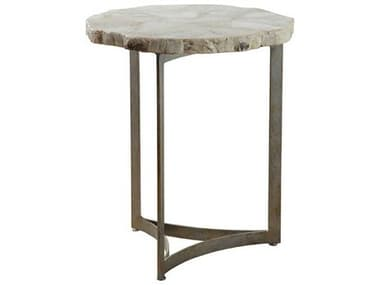 Artistica Home Gregory Fossilized White Clam Shell with Antique Iron 18'' Wide Round End Table ATS2030952